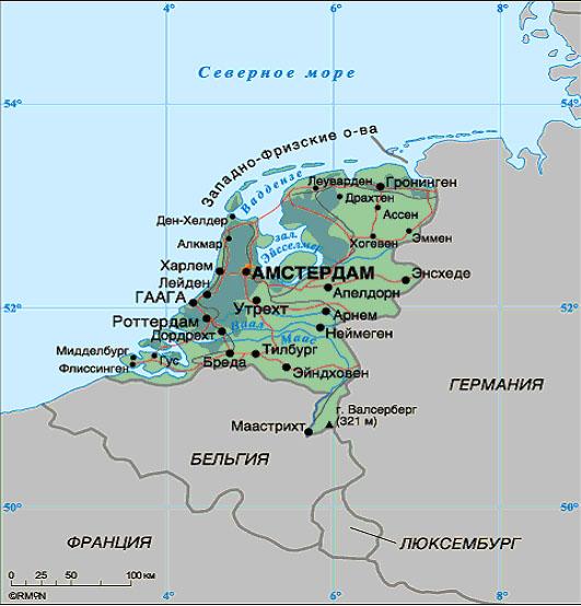 Где находится амстердам на карте